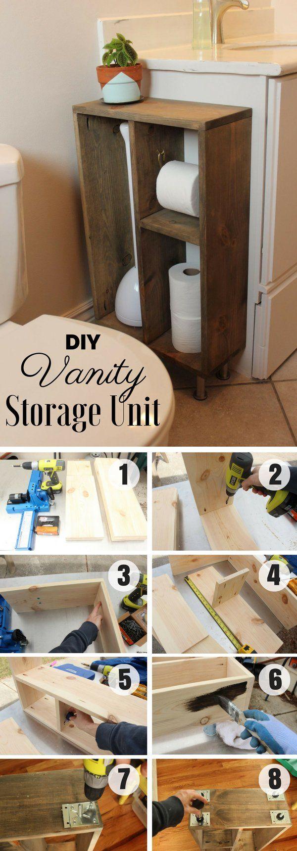 Easy to build DIY Vanity Storage Unit for rustic bathroom decor @istandarddesign
