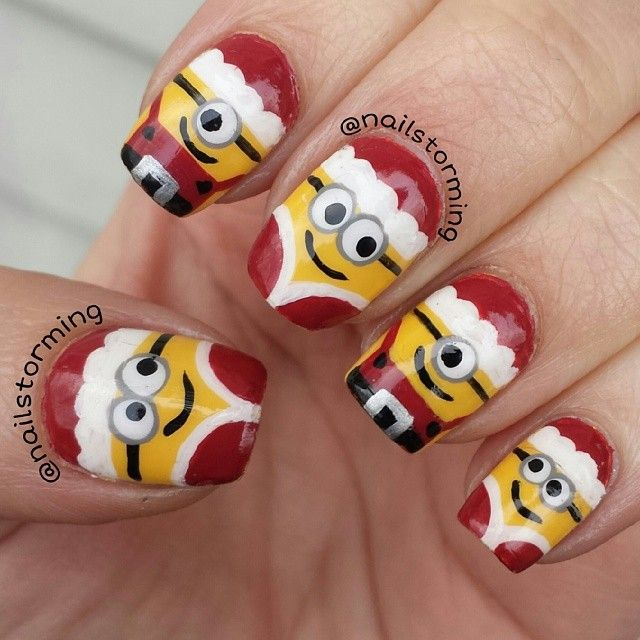 christmas nails minion