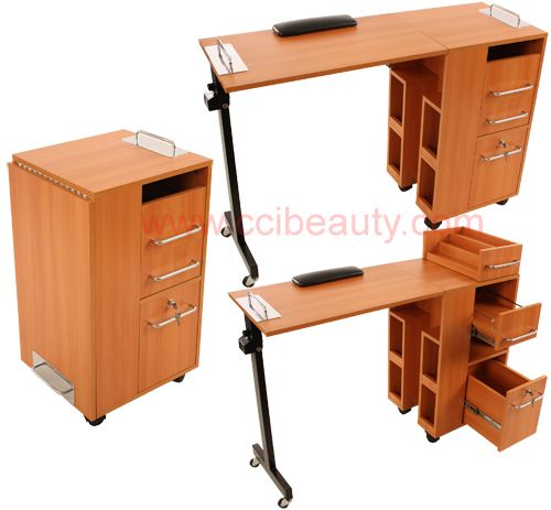 Space saving mobile manicure table cc 2714cp for the for Folding nail technician table
