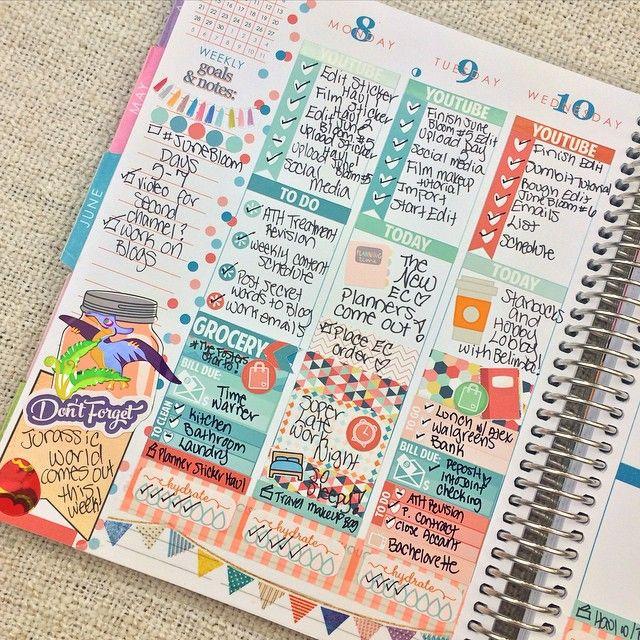 My mid-week spread! Sticker sources tagged <3 #erincondrenlifeplanner #planneraddict #eclp