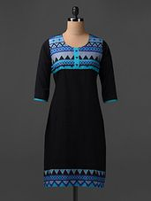 round neck printed yoke cotton kurta