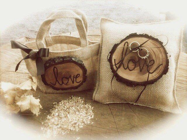 Rustic Ring Bearer - Flower Girl Basket - Burlap Wedding Ring Bearer - Wedding Ring Pillow - Country Ring Bearer Pillow - Fall Ring Bearer by MomoRadRose on Etsy https://www.etsy.com/listing/204742750/rustic-ring-bearer-flower-girl-basket
