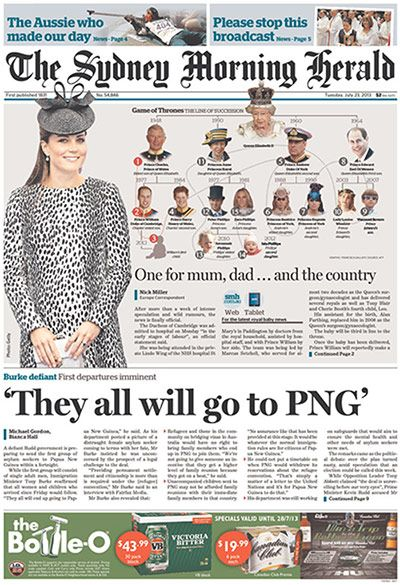 Royal baby front pages: Sydney Morning Herald