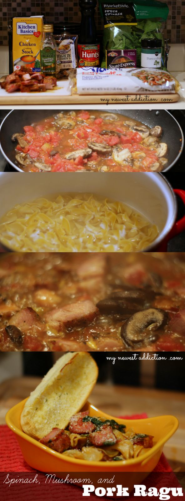 Spinach, Mushroom, and Pork Ragu Recipe, Upcycling Leftovers - My Newest Addiction Beauty Blog