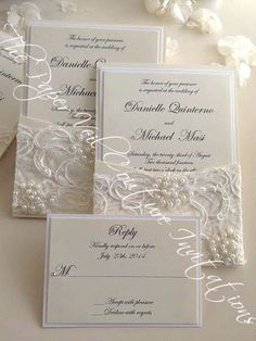 Gia - Vintage Pearl and Sequin Lace Couture Panel-Pocket Wedding Invitation w/ RSVP card - Cream and Ivory by thepaperveilcouture on Etsy https://www.etsy.com/listing/210863258/gia-vintage-pearl-and-sequin-lace