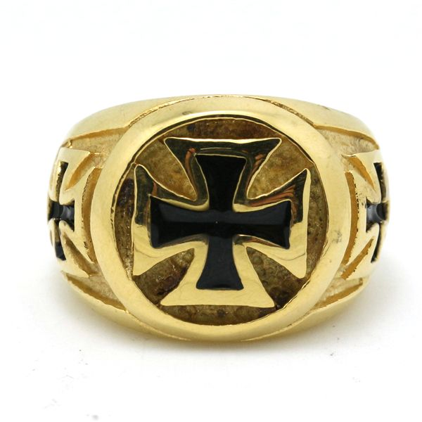 Новое Прибытие Мужская Мальчики Нержавеющей Стали 316L Золотой Крест Байкер Прохладный Удивительный Дизайн Кольцо Новое Кольцо Цена Завода