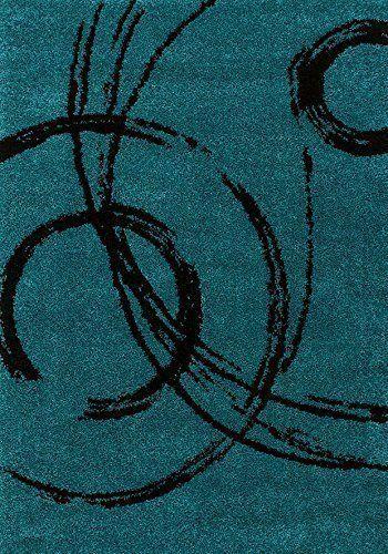 Teppich Hochflor Shaggy Modern Hochwertig Fashion Kreise türkis verschiedene Größen Sale 50% 200x290 cm