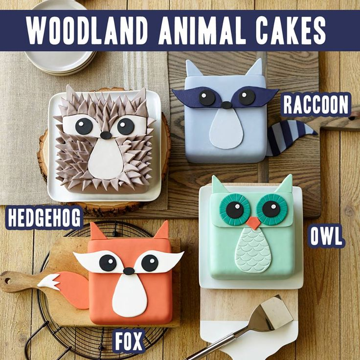 Tartas Animales ♥Wilton♥ http://www.wilton.com/search/?do=cat&cat1=&q=woodland&cmp=fb:sum:20140718woodlandfamily