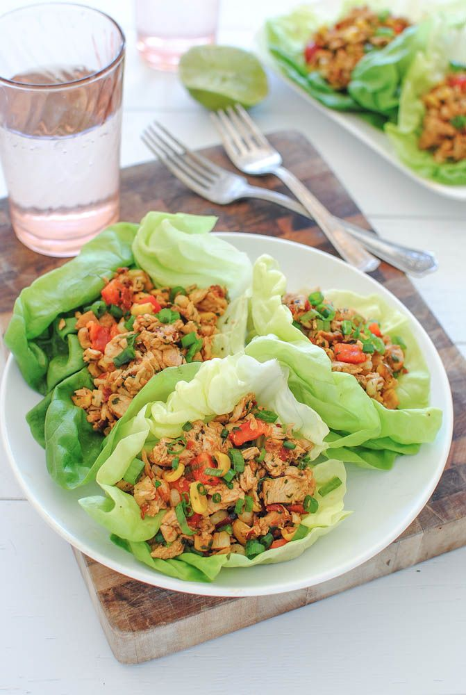 Chipotle Chicken Lettuce Wraps - super spicy! Kyle loved it! I also roasted the peppers with the corn. Also served with cheese and sour cream to tame the heat...