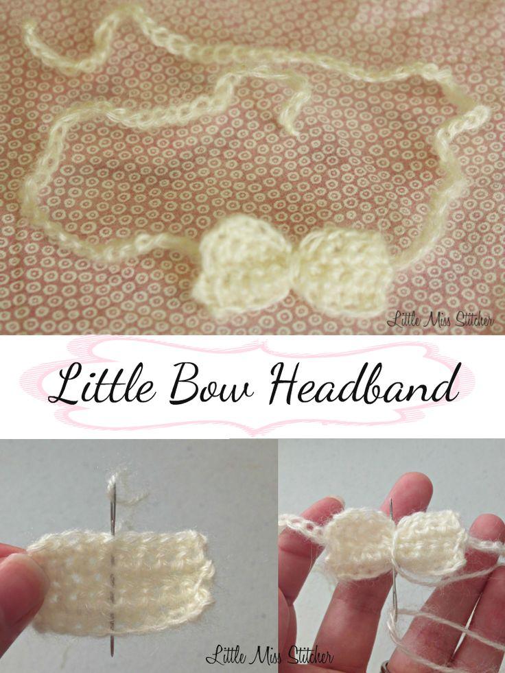 Little Bow Crochet Baby Headband. Free pattern!  ༺✿Teresa Restegui http://www.pinterest.com/teretegui/✿༻