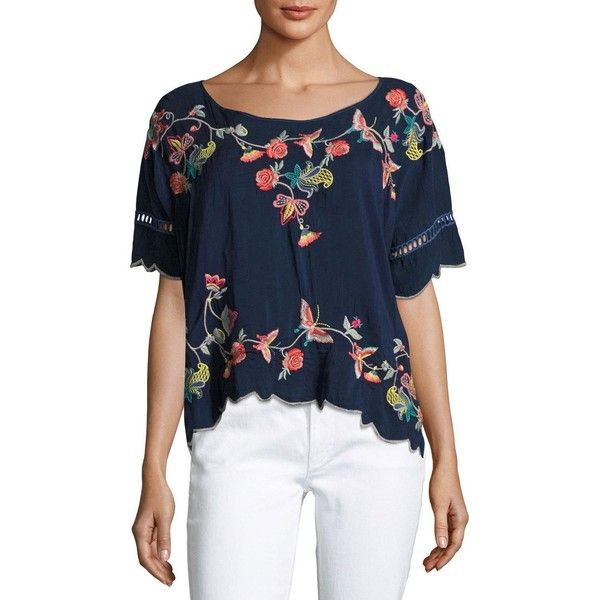 Johnny Was Alivia Embroidered Blouse ($230) ❤ liked on Polyvore featuring plus size women's fashion, plus size clothing, plus size tops, plus size blouses, blue night, embroidered blouse, short sleeve blouse, boat neck blouse, johnny was tops and blue top