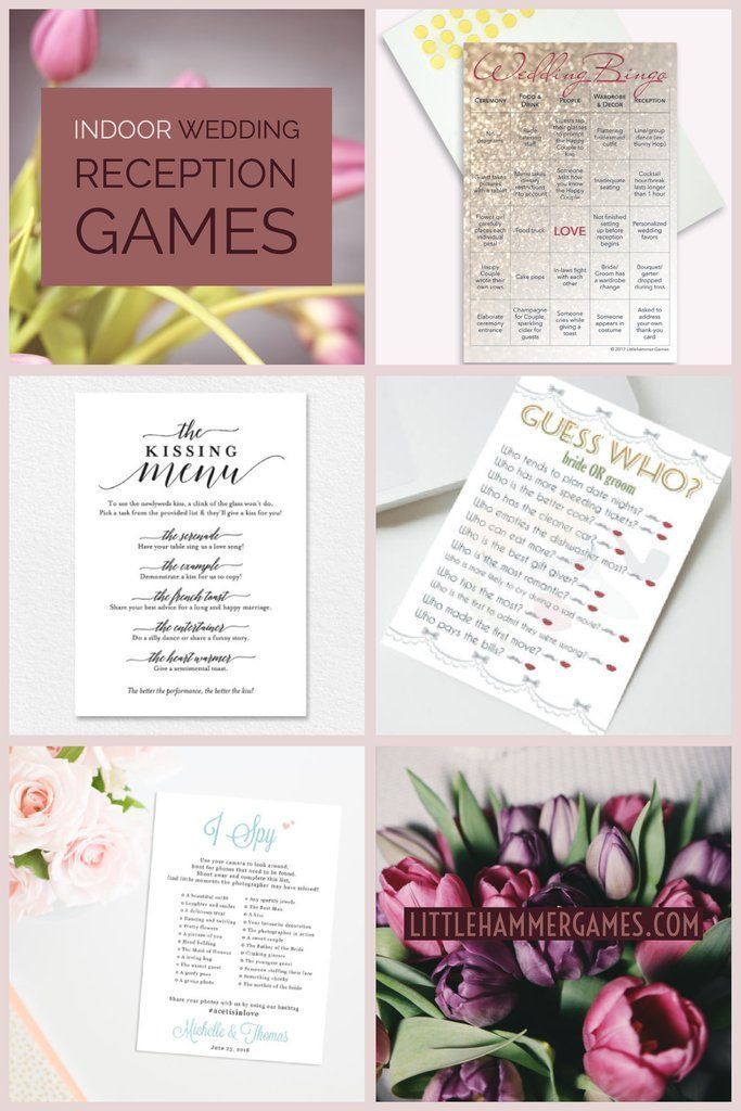 Wedding planning ideas: entertain your guests with indoor wedding reception games like Wedding Bingo, I Spy, Guess Who, or a Kissing Menu