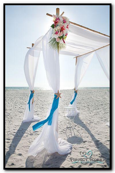 Beach Wedding Bamboo Canopy With White Fabric Wedding Ceremony Wedding Arbors Beach Ceremony