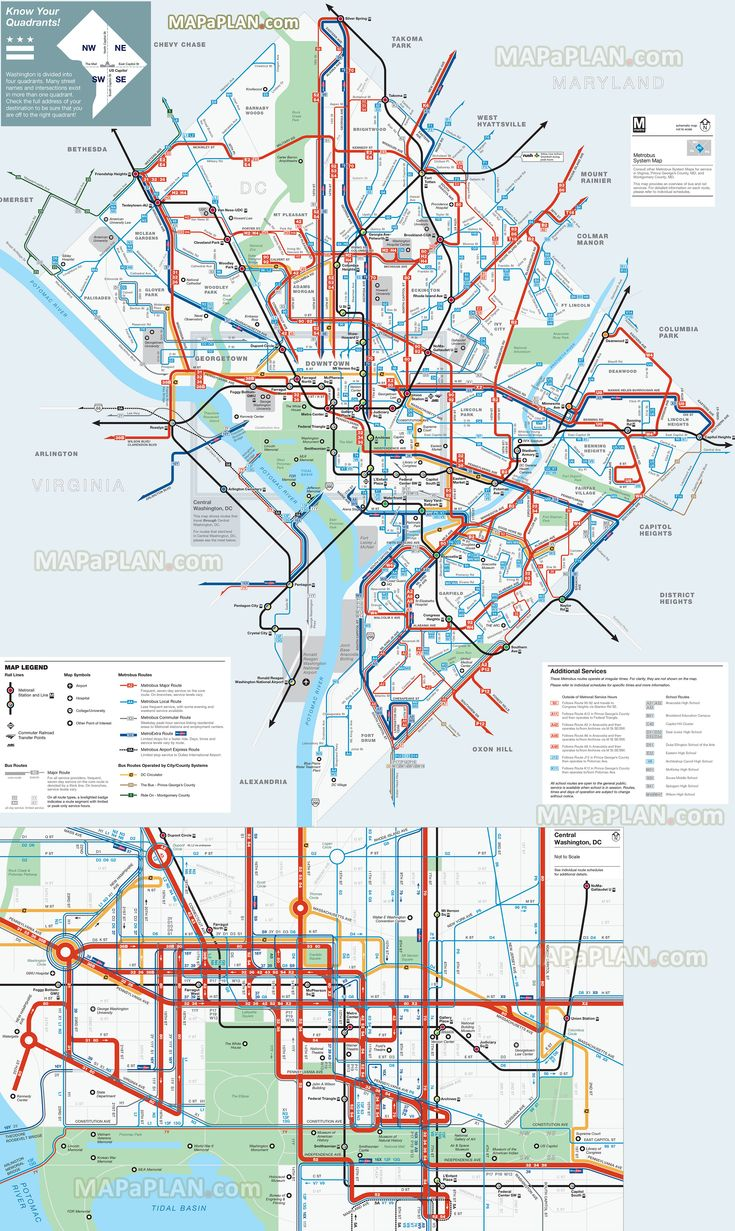 Washington DC map District Columbia area Metrobus Official – Map Of Tourist Attractions In Washington Dc