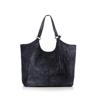 Nine by Savannah Miller Navy metallic leather tote bag | Debenhams