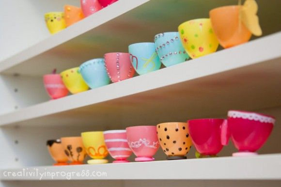 Make Plastic Easter Egg Teacups By Dollar Store Crafts -- see more at LuxeFinds.com