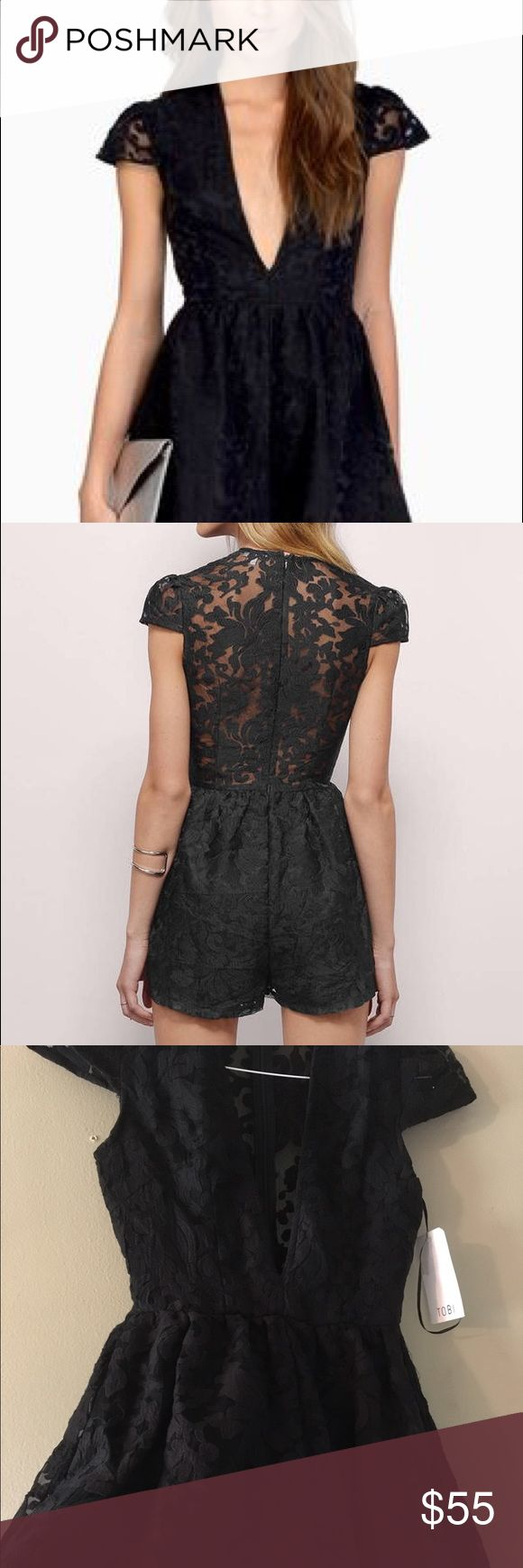 TOBI Medium Black Lace Romper TOBI Medium Black Lace Romper with Deep V Cut and Sheer Lace Back. NWOT. Never worn. Excellent Condition. Tobi Pants Jumpsuits & Rompers