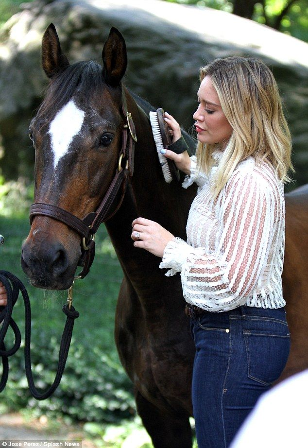 Two beauties: Hilary also filmed a shot grooming the horse as she brushed along the side o...