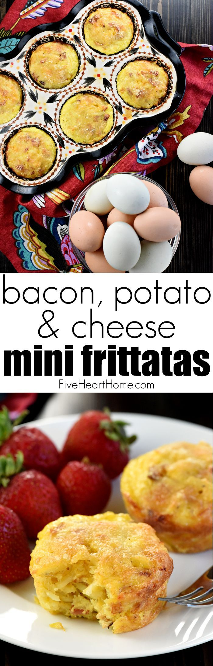 "Bacon, Potato, & Cheese Mini Frittatas ~ savory, fluffy ""egg muffins"" loaded with crispy diced bacon, hash browns, and grated cheddar and…"