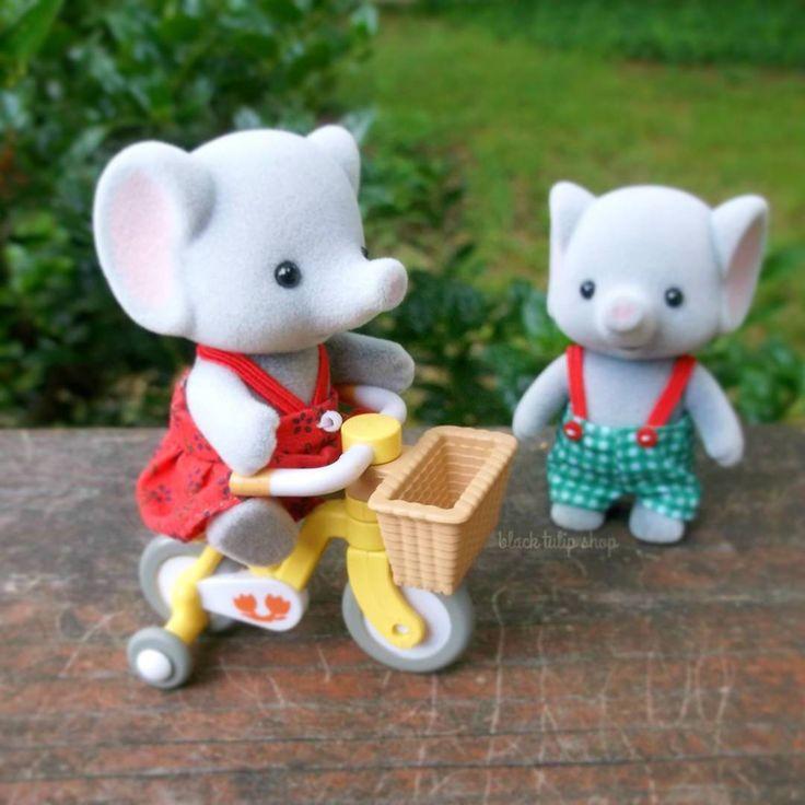 I got the bike for Emily and Benjamin today, too cute!!! Now what should I order...hummm... #mysokawaiilife #calicocritters #sylvanianfamilies #toyphotography #elephant #cute #kawaii