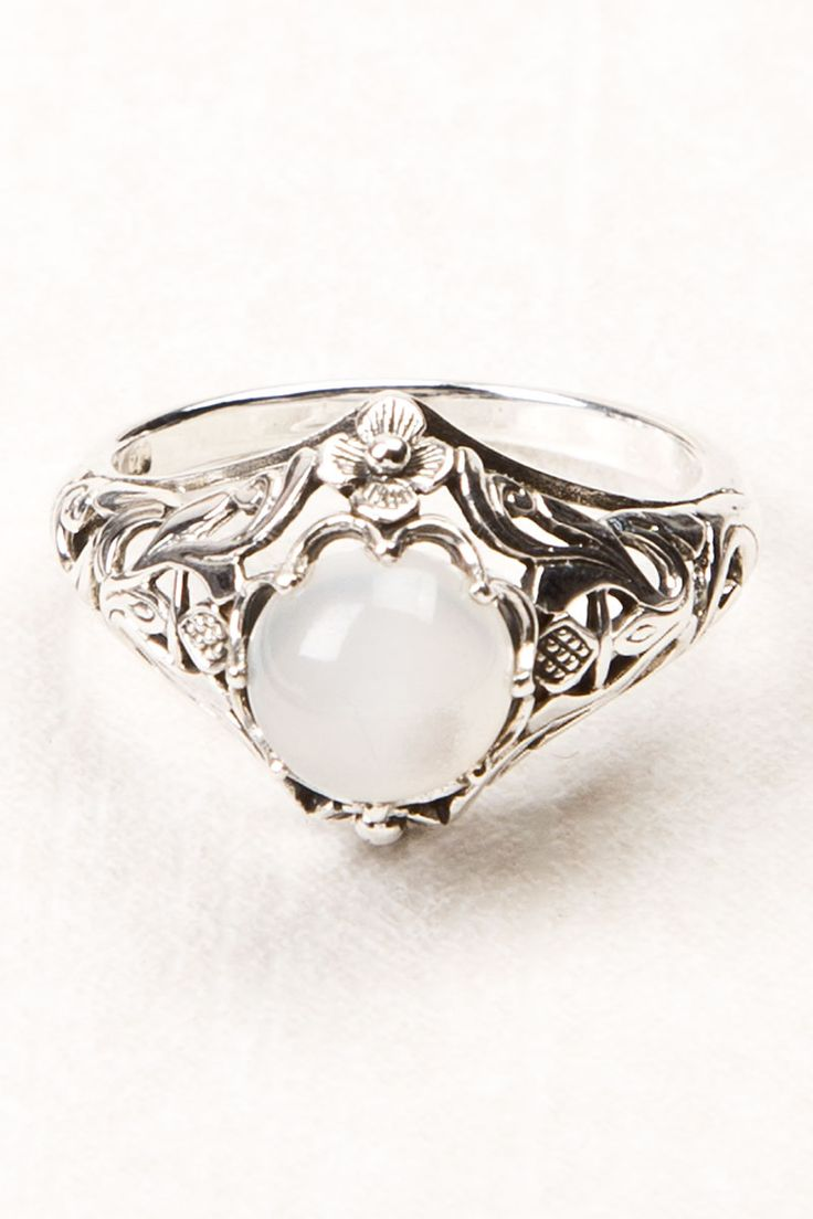 Moonstone with Filigree Ring. I seriously love moonstone jewelry