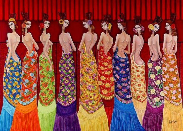 219 best Flamenco dibujos images on Pinterest  Flamenco Fans and