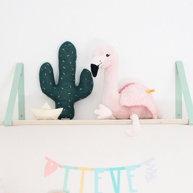 Our Shelf and Shelf Hangers is perfect for you kids room in this fine mint color - http://www.fermliving.com/webshop/shop/shelf-oiled-oak.aspx
