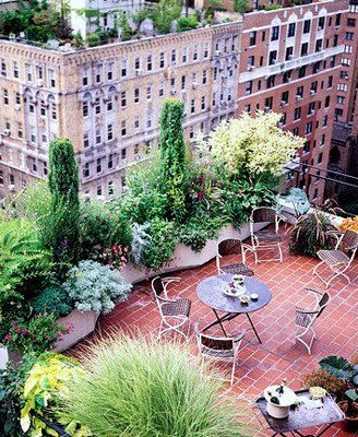 NYC rooftop garden + champagne on ice (lower right corner) = perfect summer evening.