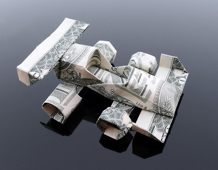 Dollar Bill Origami Race Car by craigfoldsfives.deviantart.com