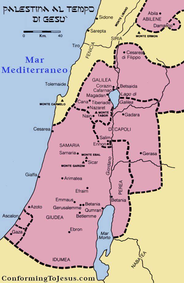 Cartina Geografica Di Israele.Mappa E Storia Di Israele Al Tempo Di Gesu Cristo Mappa Cristo Israele