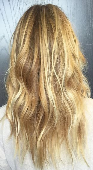 Trendy Hair Color Ideas 2017/ 2018 : warm honey and gold blonde highlights