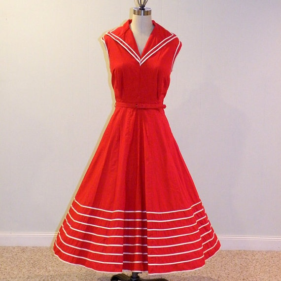 50s Dress 1950s Dress Nautical Vintage Red & by daisyandstella, $135.00