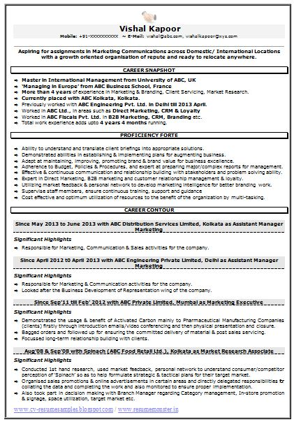 resume sample for marketing  u0026 market research  1