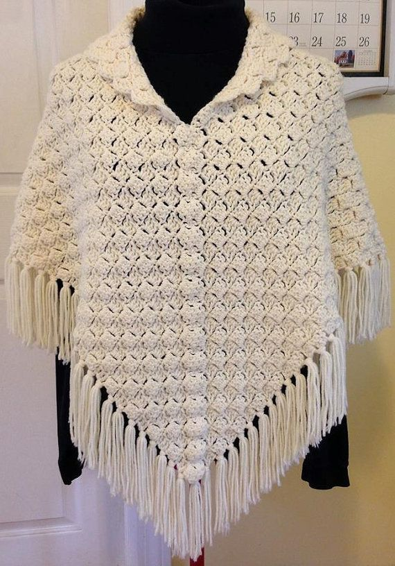 Crochet Poncho Cream Poncho Fringed Poncho by HandmadebyHeikeHeart