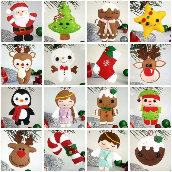 SET of 16 Christmas ornaments felt decor New Year by MyMagicFelt