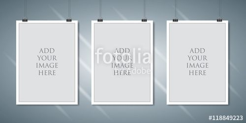 "Download the royalty-free vector ""Vector paper frame mockup hanging with paper clip"" designed by Cifotart at the lowest price on Fotolia.com. Browse our cheap image bank online to find the perfect stock vector for your marketing projects!"