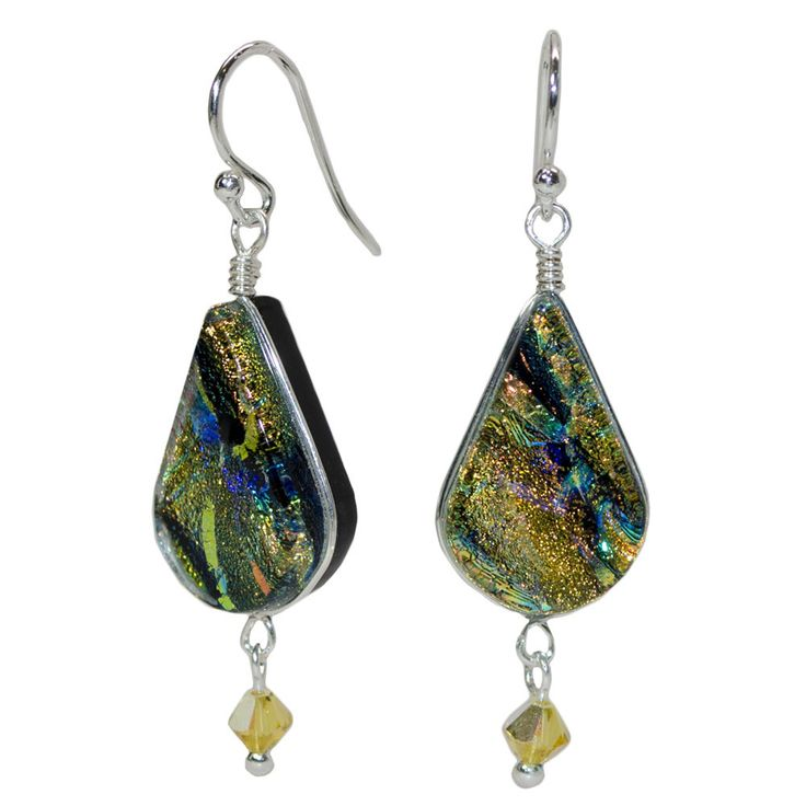 Cathedral Falls Dichroic Glass Nickel Free Earrings - made in USA – Athena Allergy, Inc. Gleaming sun-drenched color is like a guaranteed mood-lifter.  These nickel free earrings are also a sure thing - no more nickel rashes, ever! #nonickel #nickelfreejewelry #athenaallergy