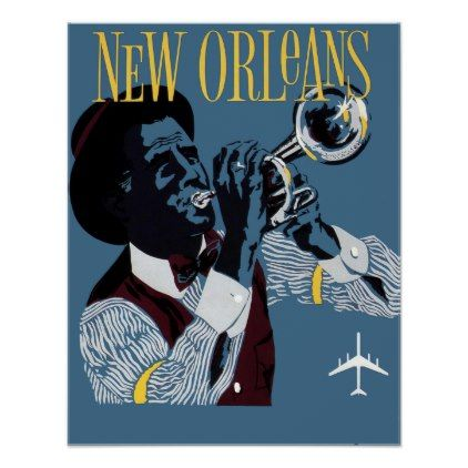 #Vintage New Orleans Travel Jazz Trumpet Poster - #travel #trip #journey #tour #voyage #vacationtrip #vaction #traveling #travelling #gifts #giftideas #idea