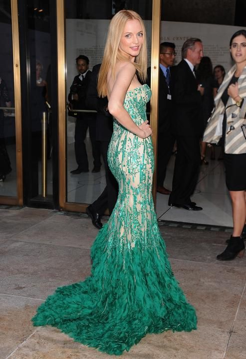 "Heather Graham: Wearing an emerald-and-nude Naeem Khan gown to the MET season opening production of ""Eugene Onegin"" in NYC (9/23/2013) Credit: Jamie McCarthy/Getty Images"