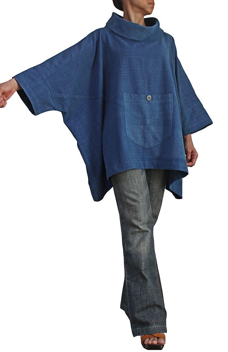 ジョムトン手織り綿のハイネックポンチョプルオーバー BFS-122-03  I don't know what all that other stuff says, but I made a top very similar to this one and I just love it!  So easy to wear....