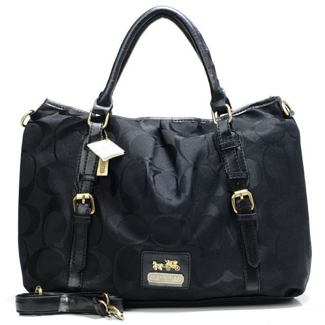 Look Here! Coach Buckle In Monogram Large Black Satchels CBN Outlet Online