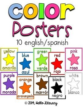 Color Word Posters for your class in english and spanish on each card.  Colors included are: red, orange, yellow, blue, green, pink, purple, brown, black, white and gray.