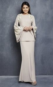 Leah Modern Kurung with Sequin Bell Sleeves in Nude