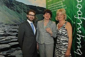 Enterprise Minister Arlene Foster is pictured with Jack and Tracy Hamilton of Mash Direct at the Gulfood Exhibition after announcing that the Comber based company has won its first business in Dubai. #mashtag #mashdirect  http://www.mashdirect.com/enterprise-minister-commends-mash-direct-for-exports-to-dubai