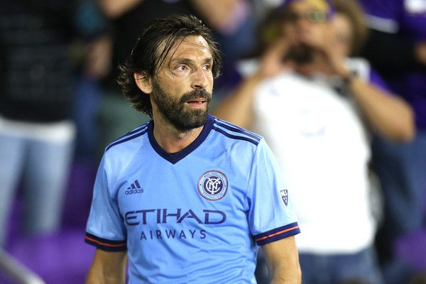 Andrea Pirlo #21 of New York City FC prepares for a corner kick during a MLS soccer match between New York City FC and Orlando City SC at the Orlando City Stadium on March 5, 2017 in Orlando, Florida.