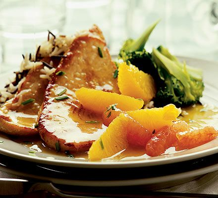 Turkey Steaks w/ Citrus & Ginger Sauce    310 kcalories, protein 39g, carbohydrate 25g, fat 7 g, saturated fat 1g, fibre 3g, sugar 1,9g, salt 0,22 g