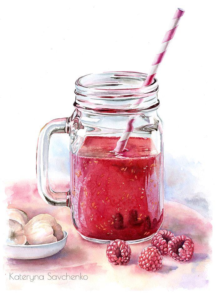 Raspberry smoothie watercolor illustration by Kateryna Savchenko