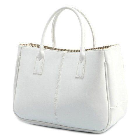Sac fourre-tout simple couleur de bonbons et PU cuir Design femmes - Blanc