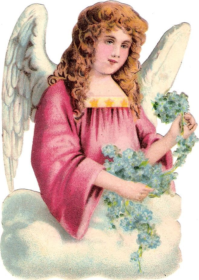 Oblaten Glanzbild scrap die cut chromo Engel angel Vergissmeinnicht forgetmenot