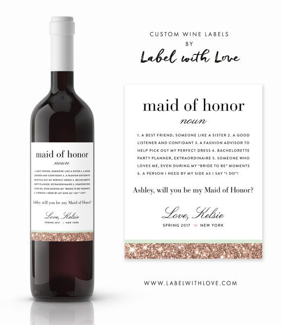 Will You Be My Bridesmaid Definition wine labels von LabelWithLove